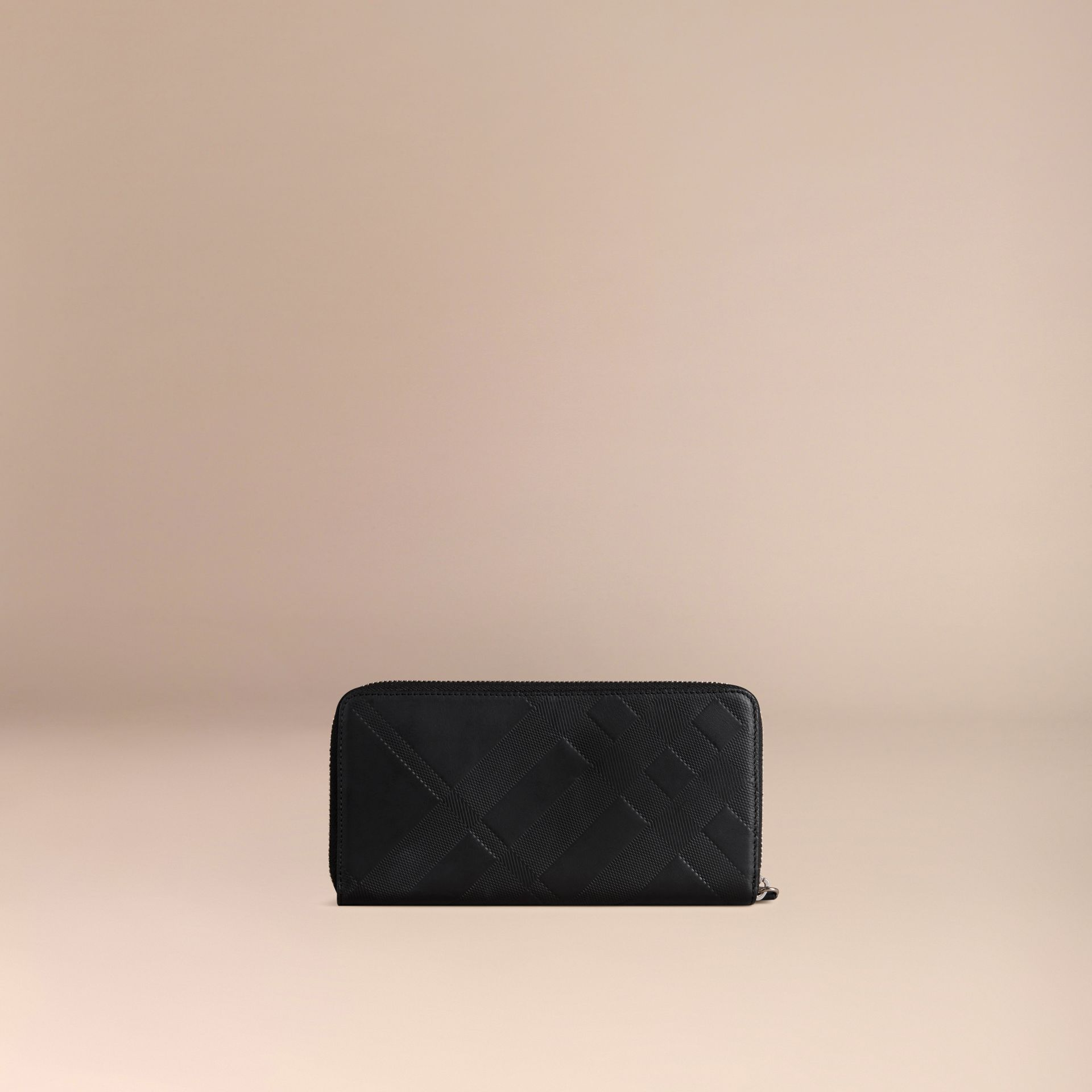 Noir Portefeuille zippé en cuir à motif check estampé Noir - photo de la galerie 4