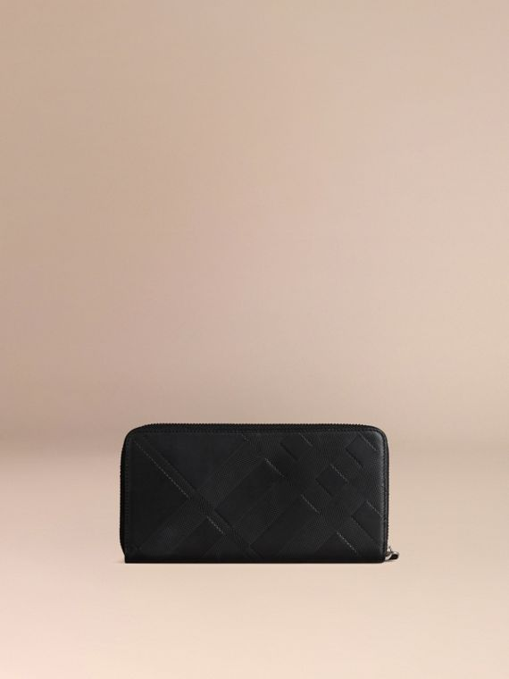 Black Check-embossed Leather Ziparound Wallet Black - cell image 3