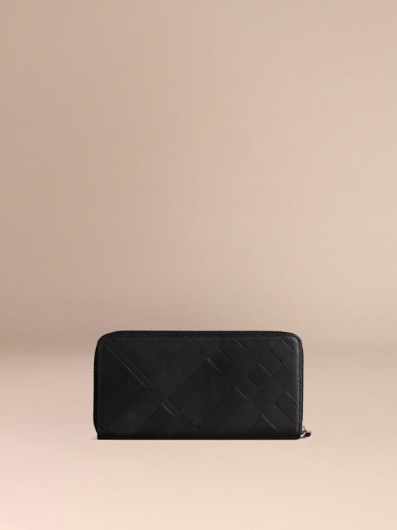 Noir Portefeuille zippé en cuir à motif check estampé Noir - cell image 3