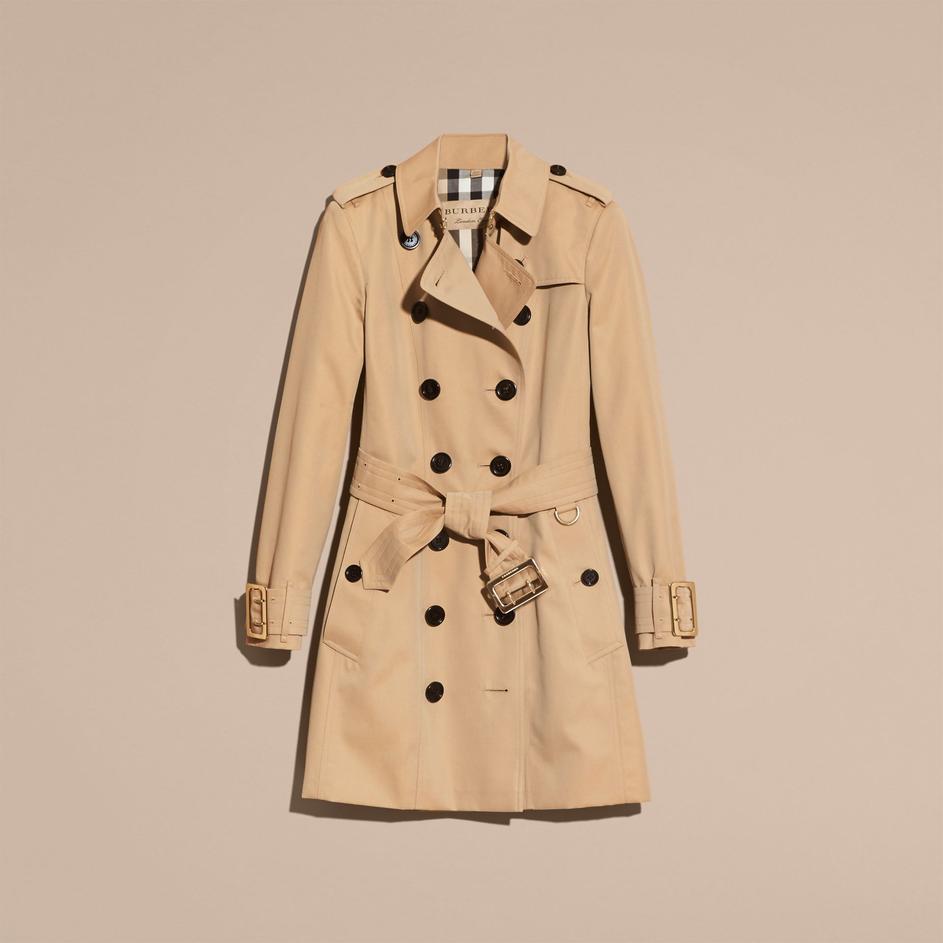 Honey Cotton Gabardine Trench Coat with Oversize Buckle Detail Honey - gallery image 4