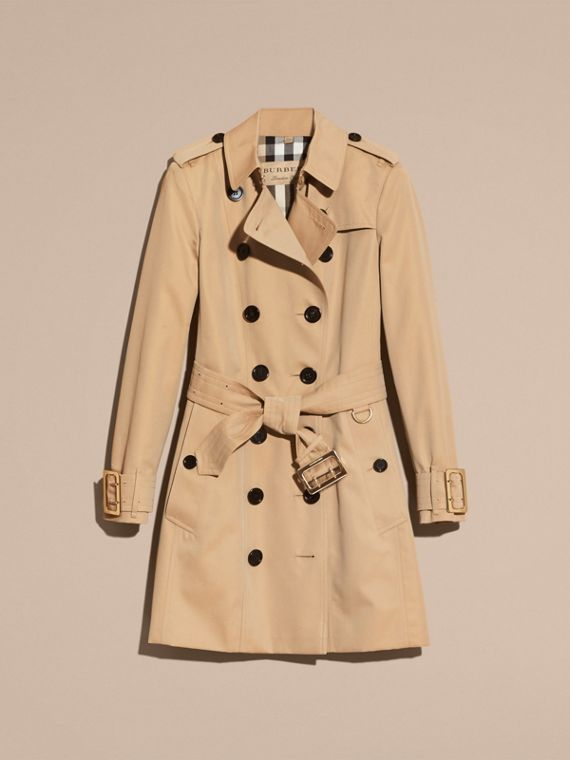 Honey Cotton Gabardine Trench Coat with Oversize Buckle Detail Honey - cell image 3