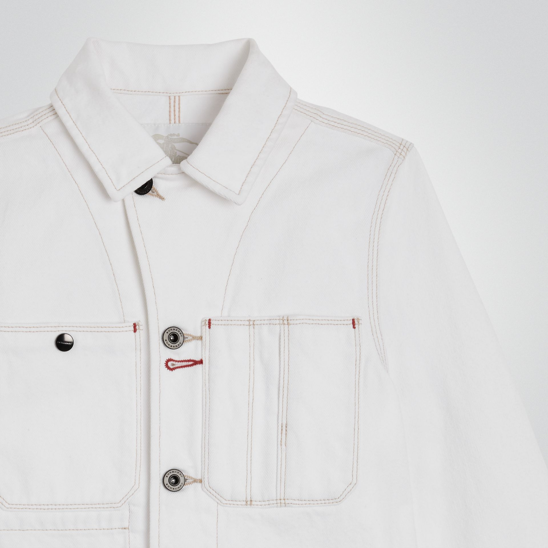 Veste en denim surpiqué (Blanc Naturel) | Burberry Canada - photo de la galerie 4