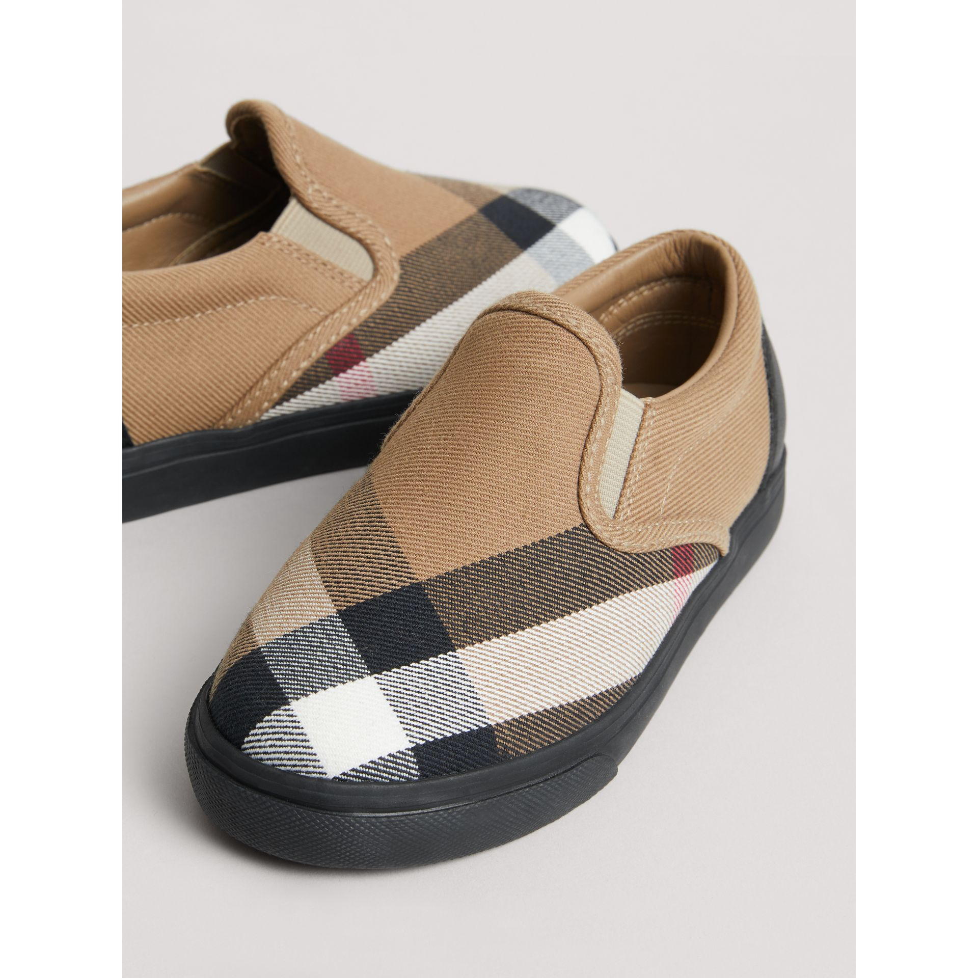 House Check and Leather Slip-on Sneakers in Classic/black | Burberry United Kingdom - gallery image 1