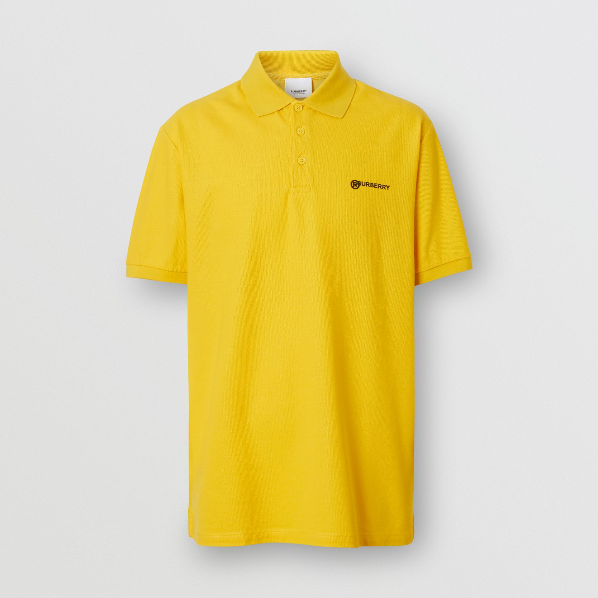 Location Print Cotton Piqué Oversized Polo Shirt in Canary Yellow - Men | Burberry - gallery image 3