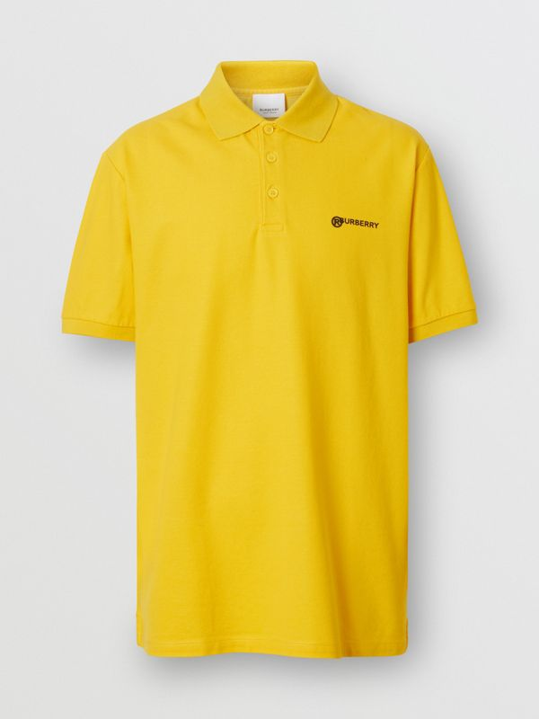 Location Print Cotton Piqué Oversized Polo Shirt in Canary Yellow - Men | Burberry - cell image 3
