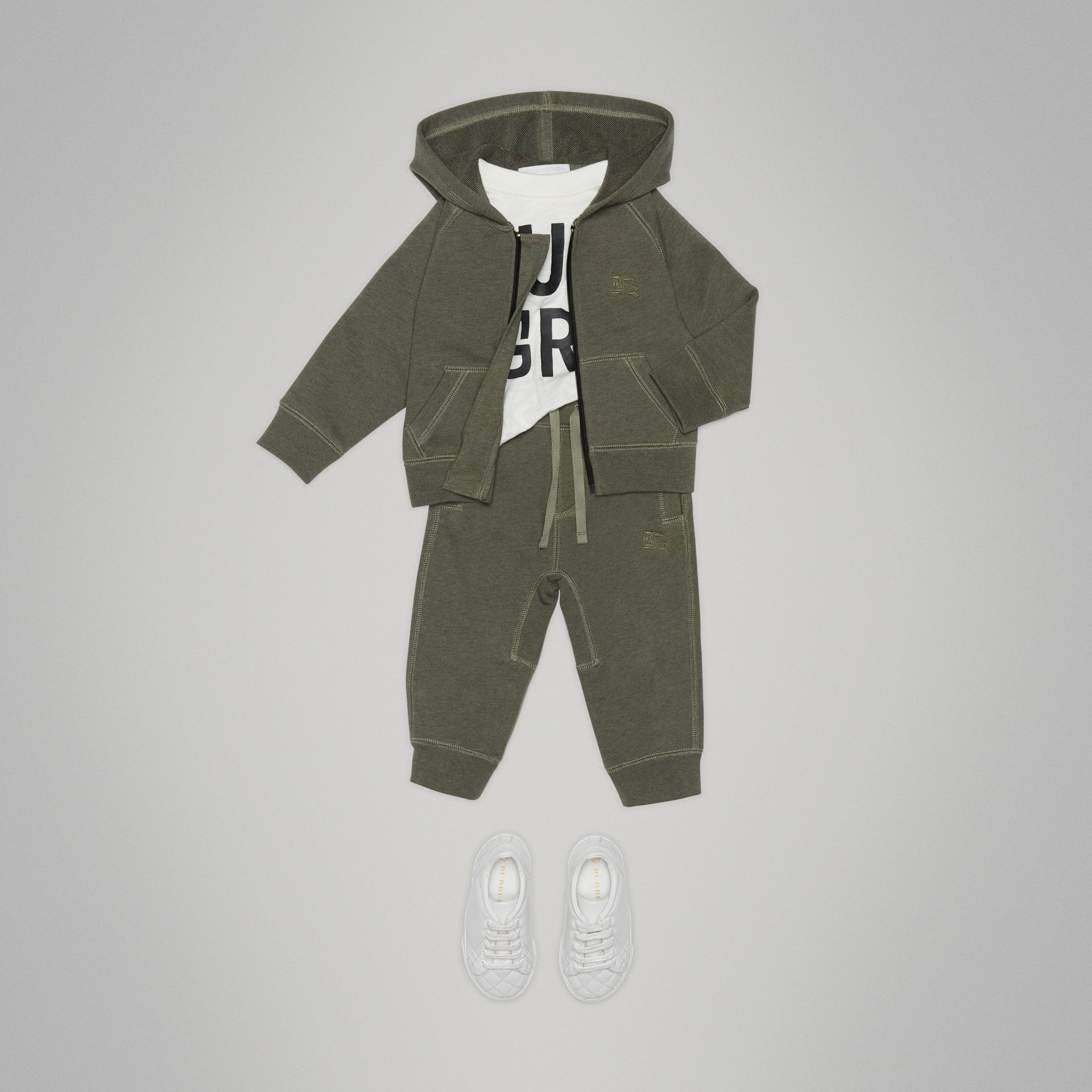 Embroidered Logo Cotton Trackpants in Olive Melange - Children | Burberry Canada - gallery image 2