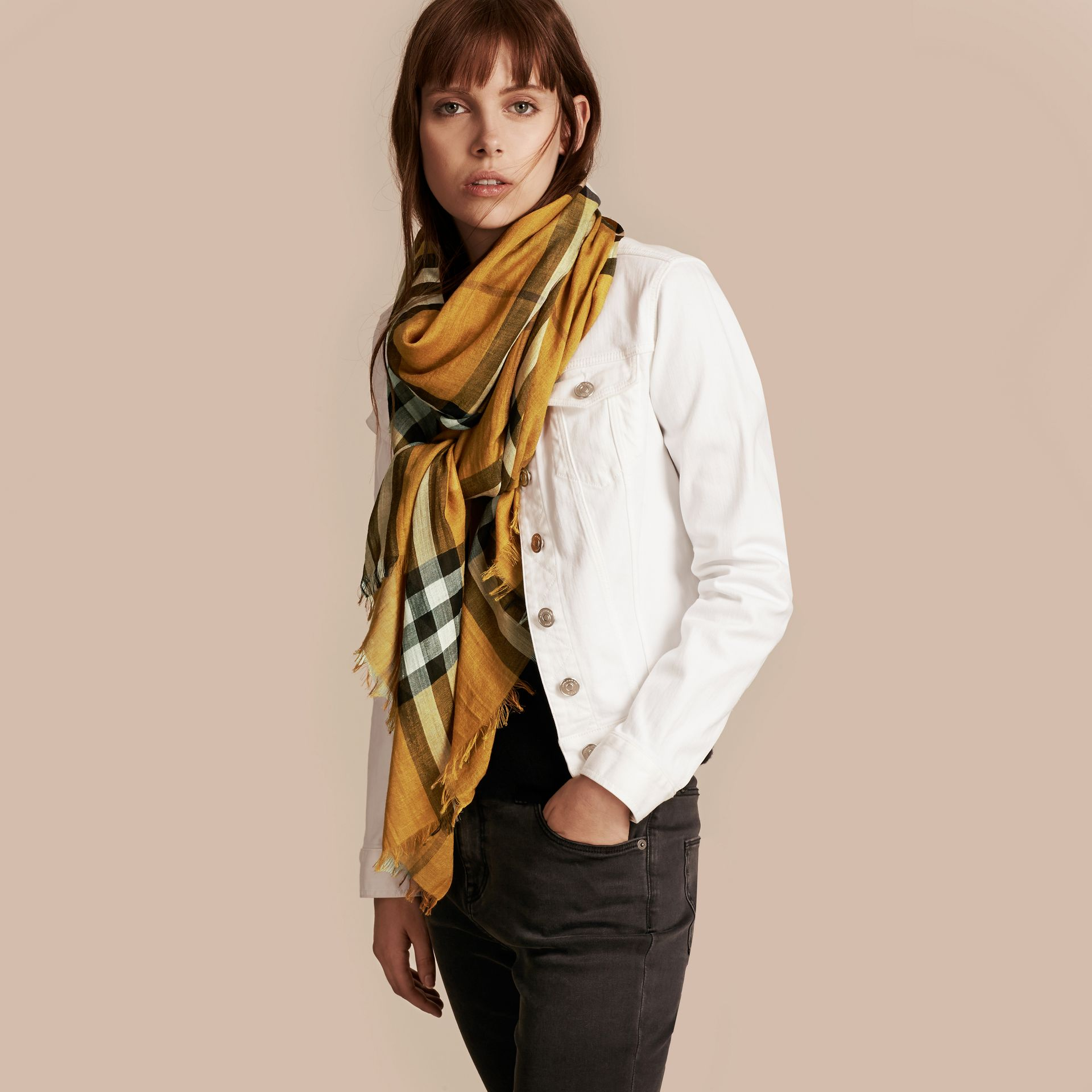 Amber yellow Lightweight Check Wool and Silk Scarf Amber Yellow - gallery image 3