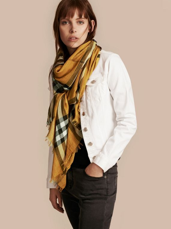 Amber yellow Lightweight Check Wool and Silk Scarf Amber Yellow - cell image 2