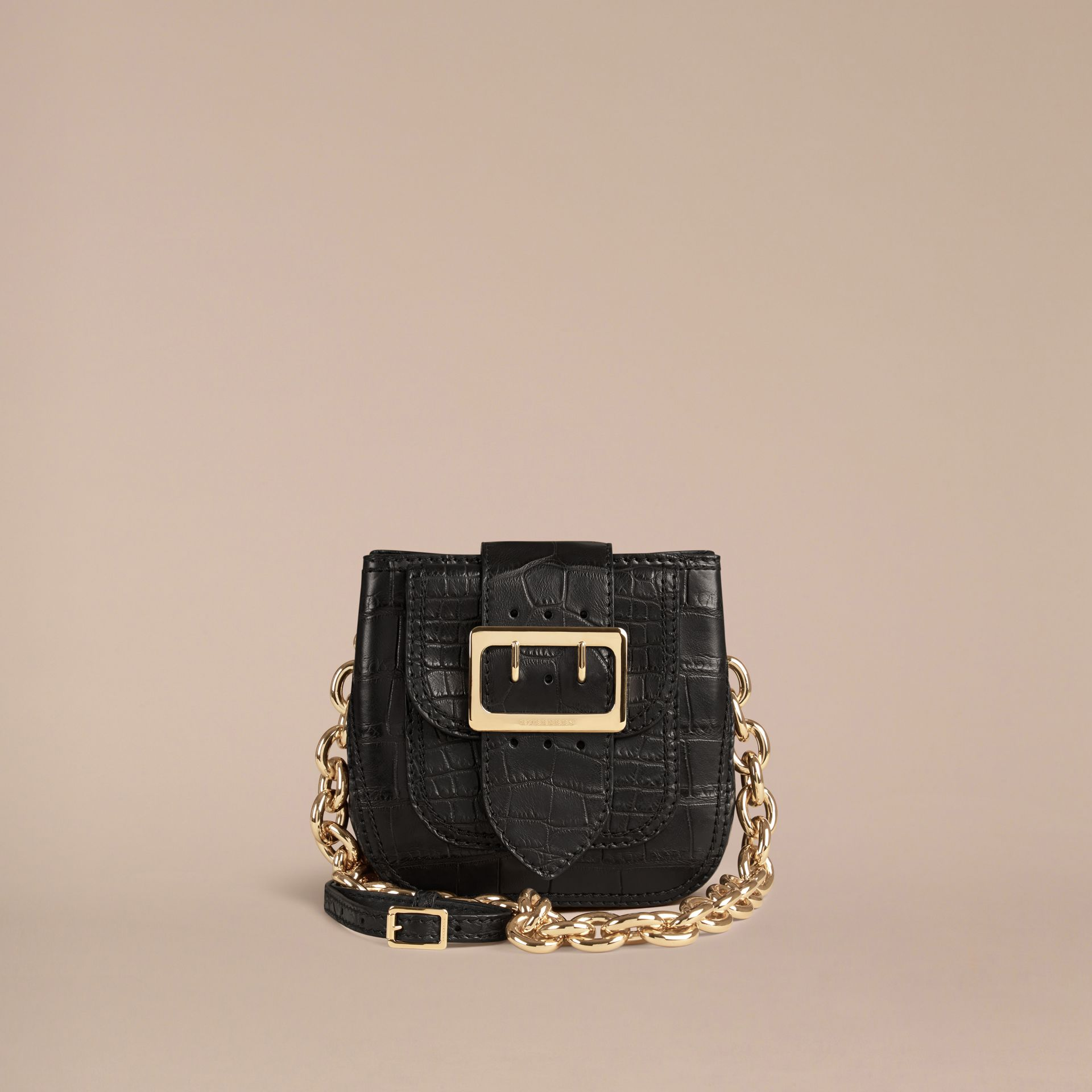 Black The Small Square Buckle Bag in Alligator Limited Edition - gallery image 8