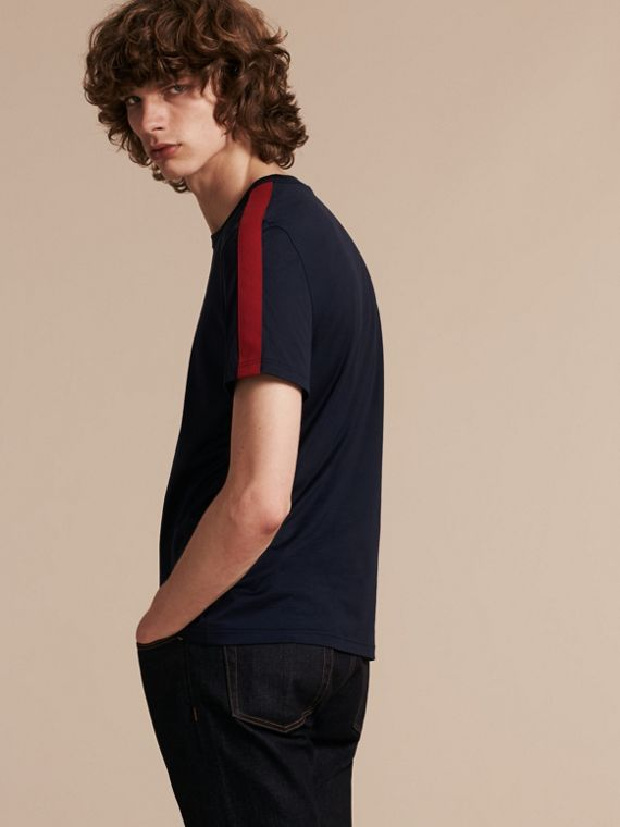 Navy Shoulder Stripe Cotton T-shirt Navy - cell image 2