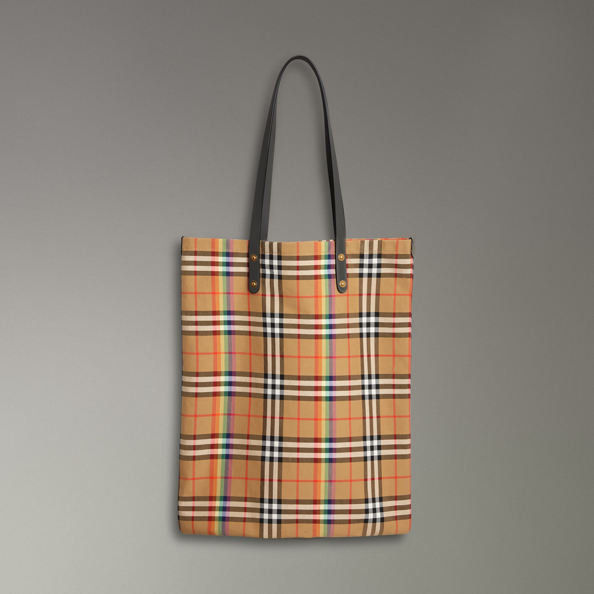 Large Rainbow Vintage Check Shopper in Dark Grey | Burberry Canada - gallery image 0