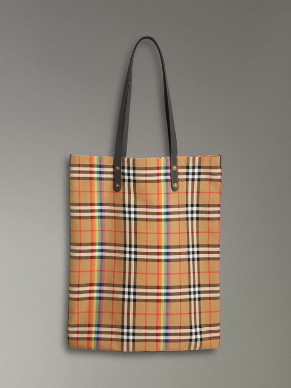 Large Rainbow Vintage Check Shopper in Dark Grey
