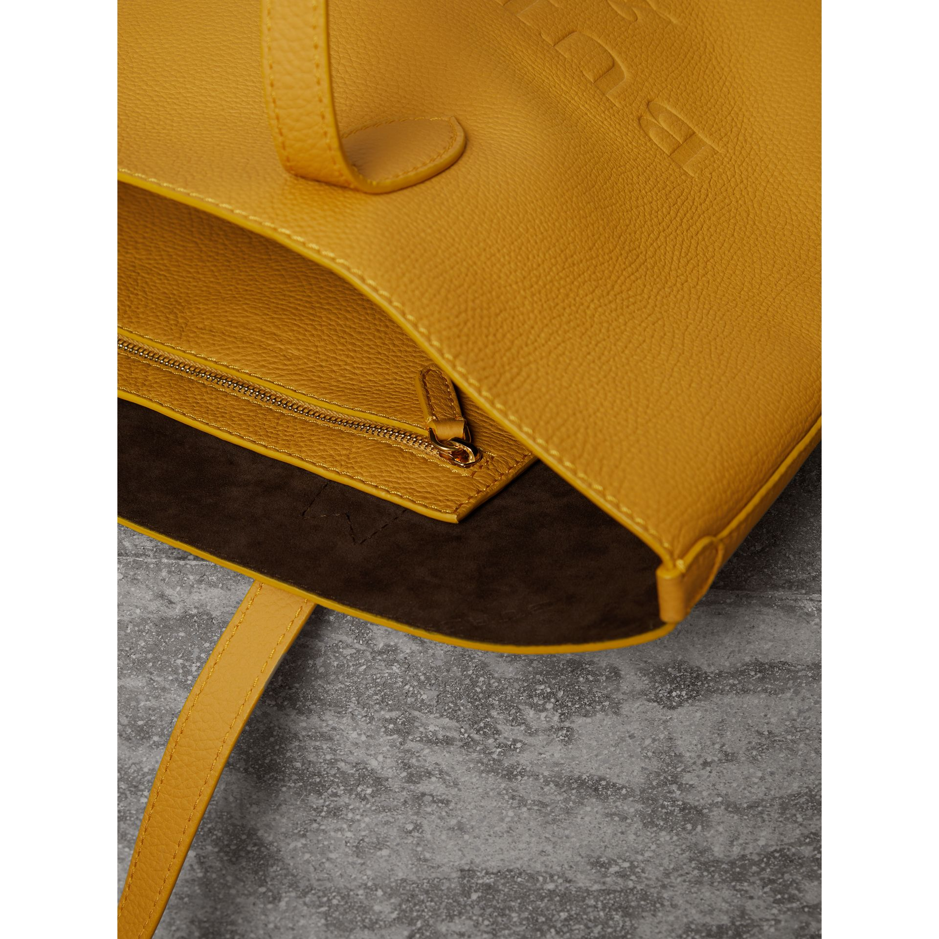Embossed Leather Tote in Ochre Yellow | Burberry - gallery image 4