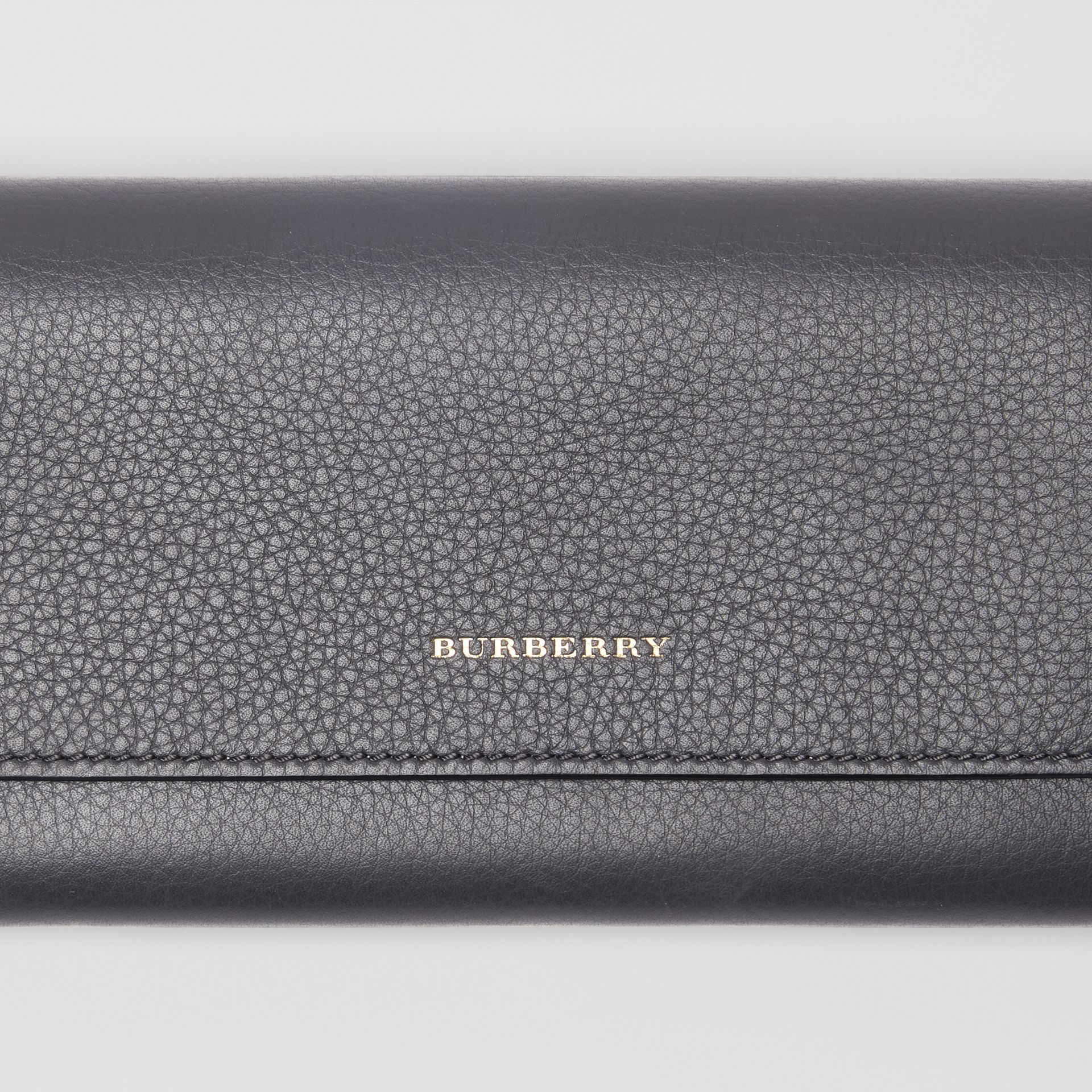 Leather Continental Wallet in Charcoal Grey - Women | Burberry - gallery image 1