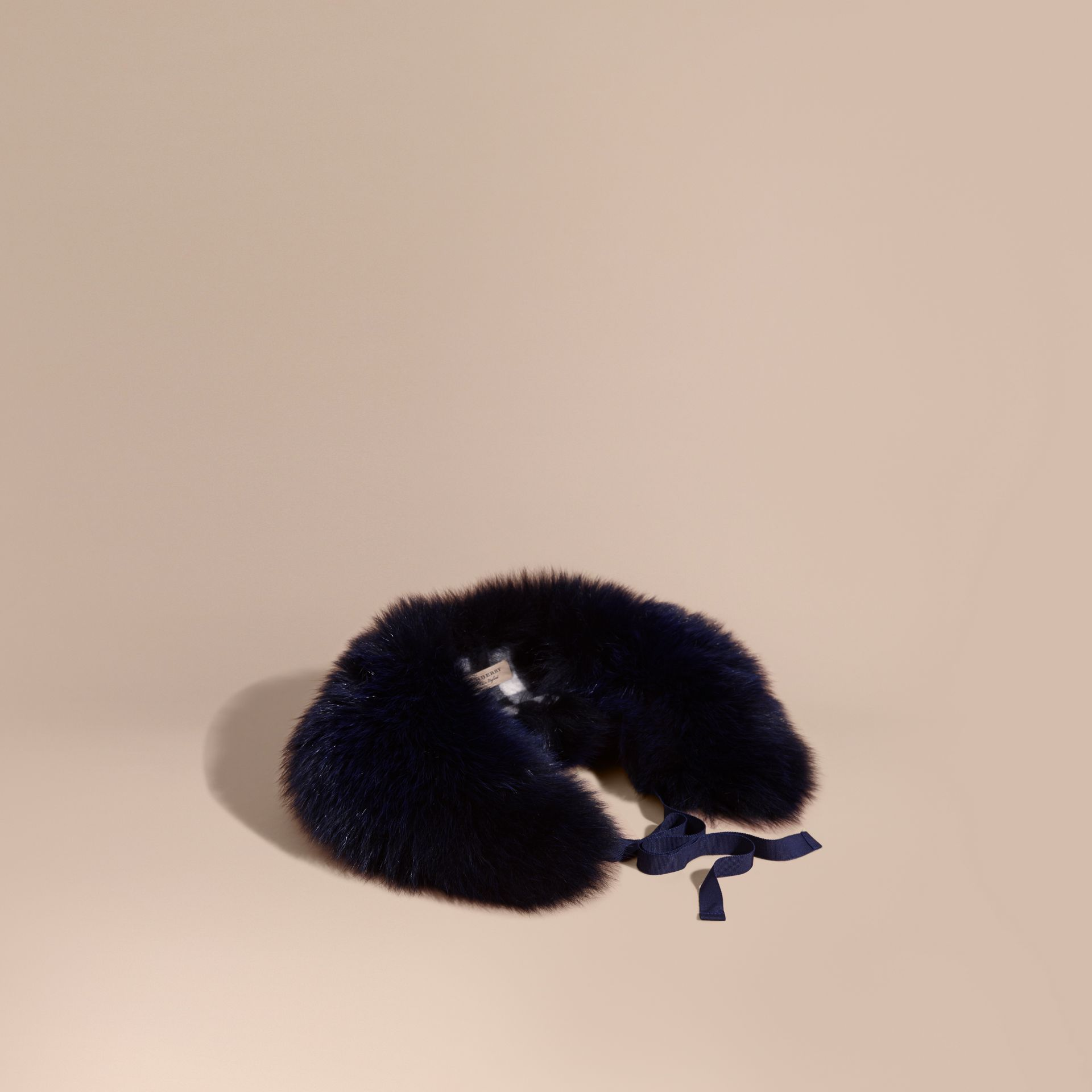 Fox Fur Collar with Check Cashmere Lining Indigo Blue - gallery image 1