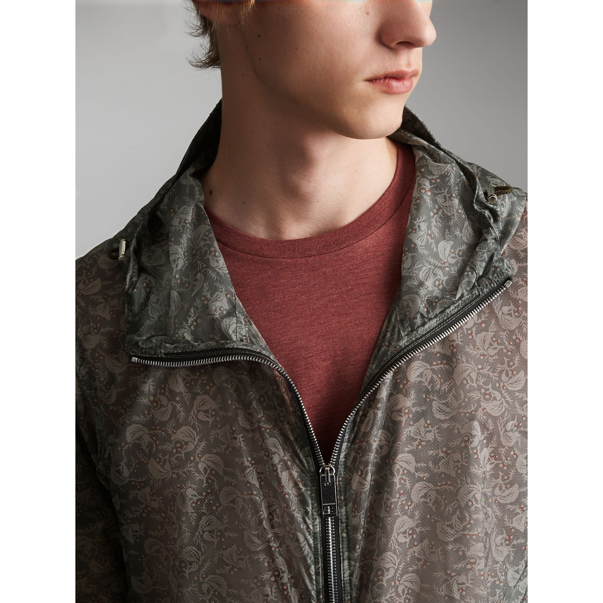 Leaf Pattern Hooded Ultra-lightweight Jacket - Men | Burberry - gallery image 2