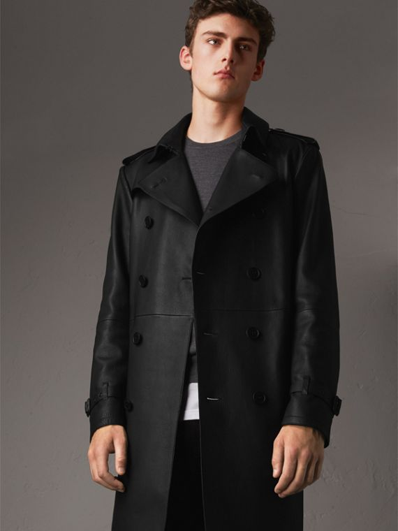 Trench coat in pelle di agnello - Uomo | Burberry