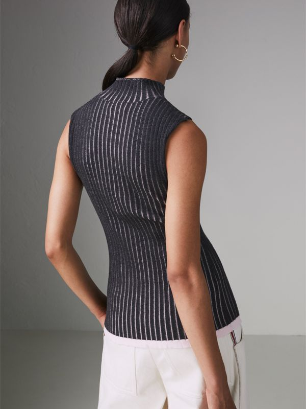 Sleeveless Rib Knit Cashmere Silk Turtleneck Sweater in Charcoal - Women | Burberry United Kingdom - cell image 2