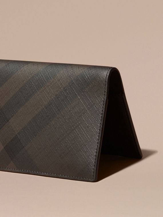 London Check and Leather Passport Holder in Chocolate/black - Men | Burberry - cell image 3