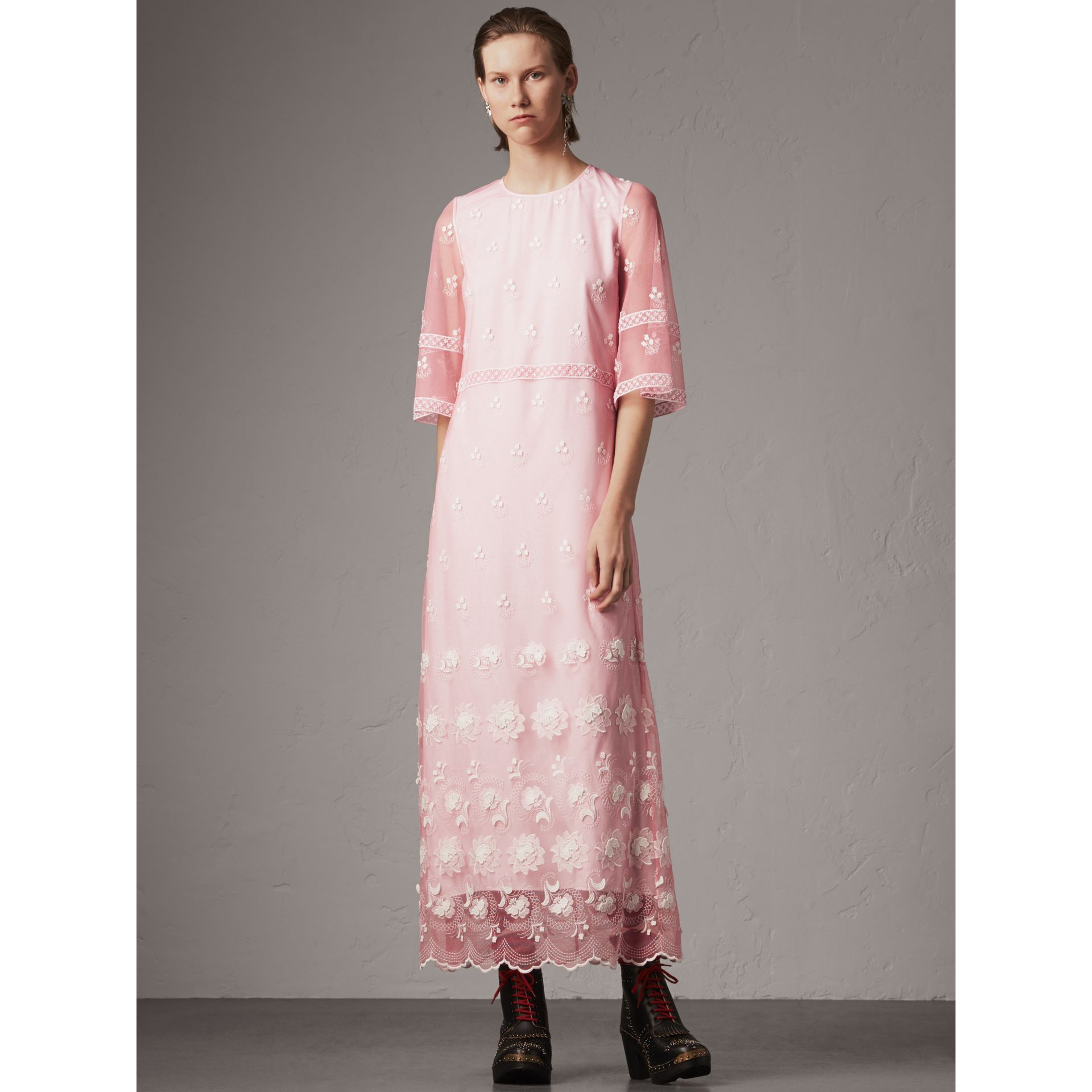Flare-sleeve Embroidered Tulle Dress in Rose Pink/white - Women | Burberry - gallery image 1