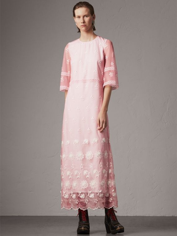 Flare-sleeve Embroidered Tulle Dress in Rose Pink/white