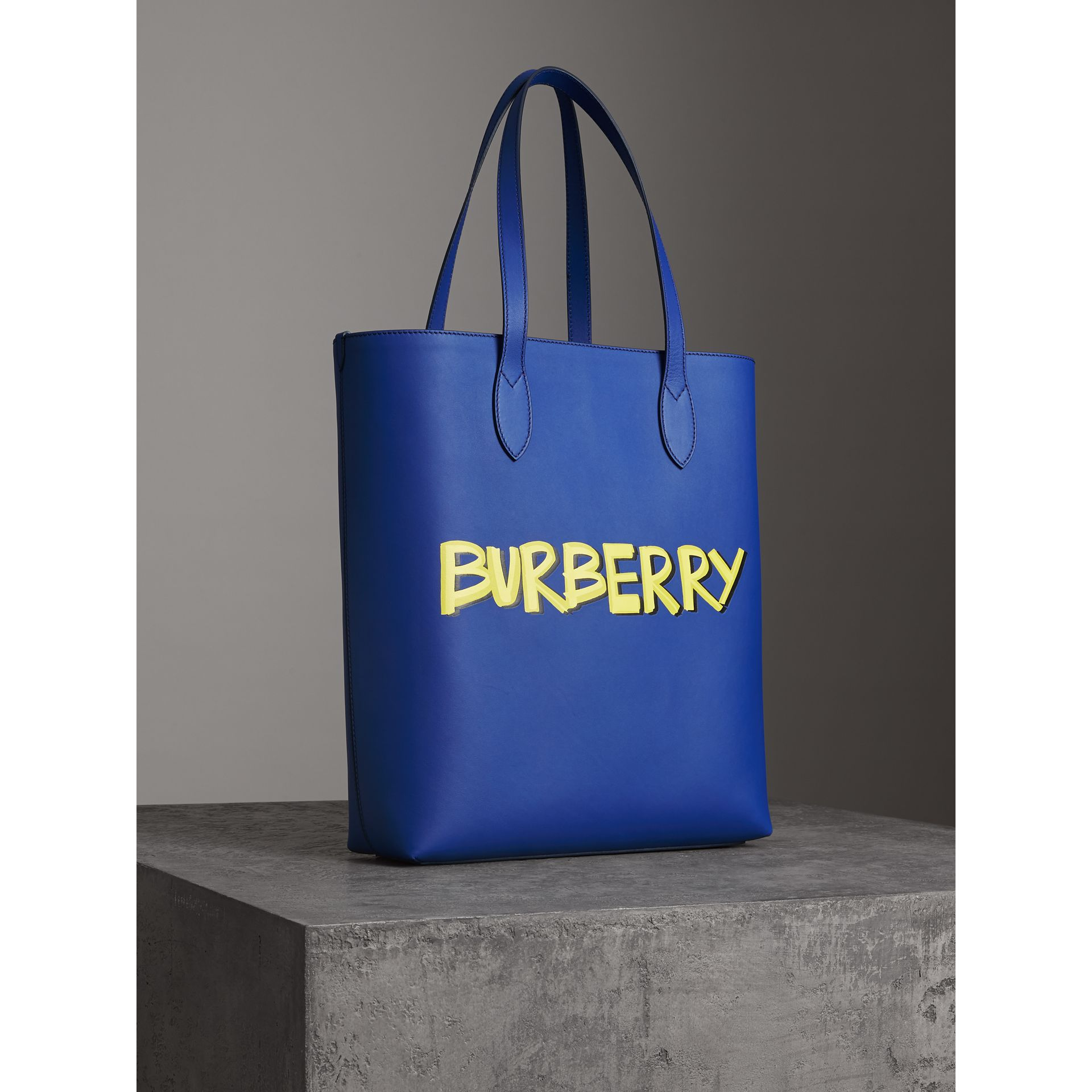 Graffiti Print Bonded Leather Tote in Denim Blue | Burberry - gallery image 4