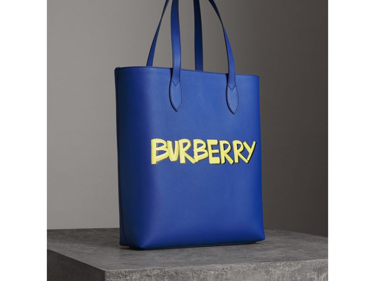 Graffiti Print Bonded Leather Tote in Denim Blue | Burberry United States - cell image 4