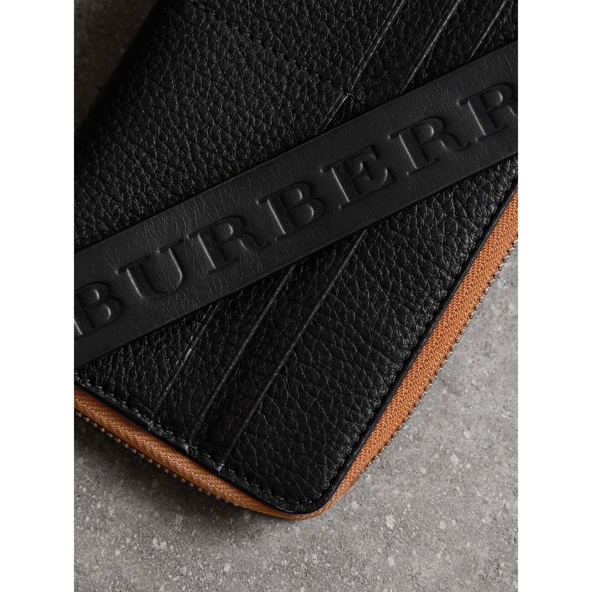 Grainy Leather Phone Case in Black - Men | Burberry - gallery image 1