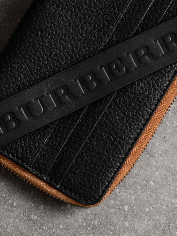Grainy Leather Travel Wallet in Black - Men | Burberry - cell image 1