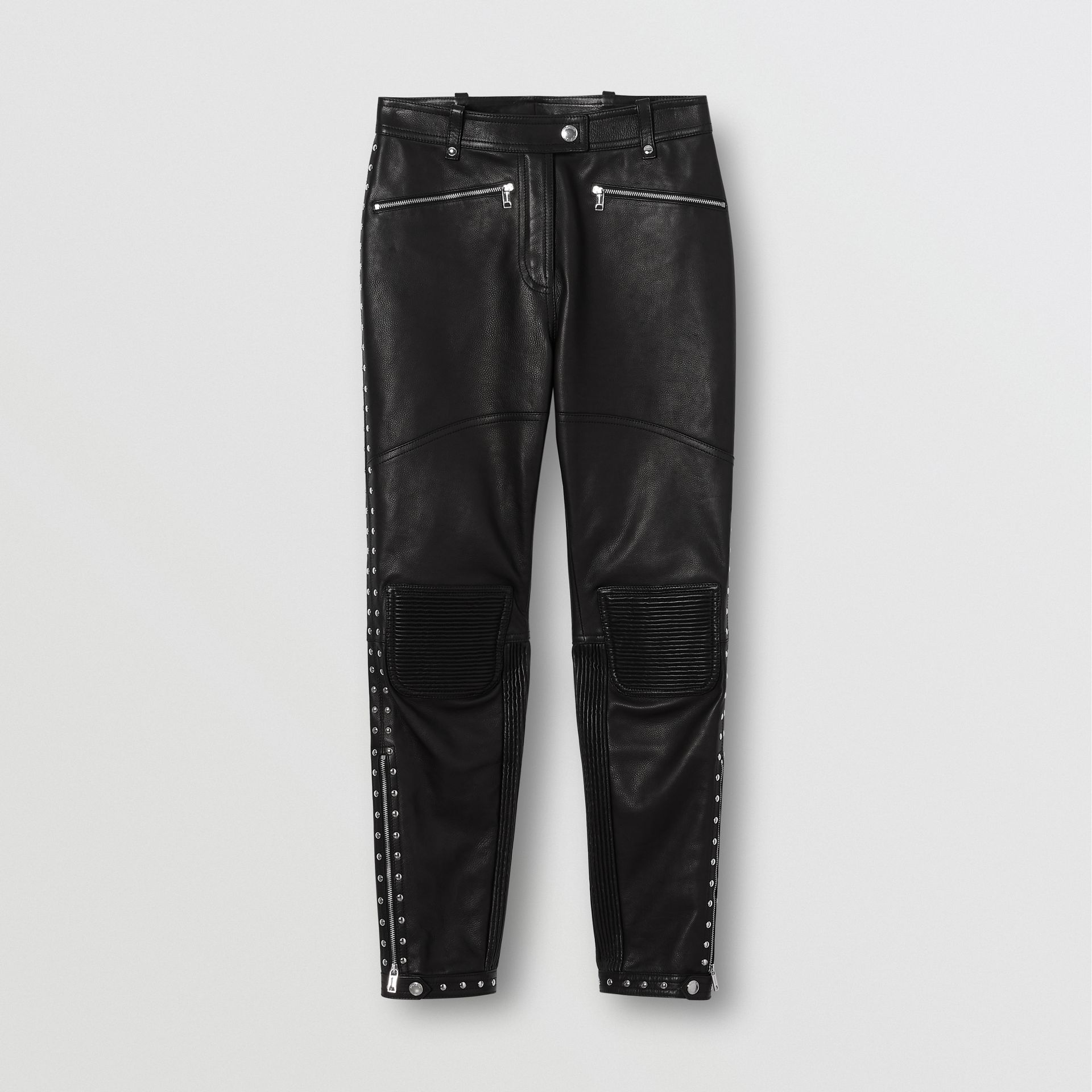 Zip Detail Studded Leather Trousers in Black - Women | Burberry - gallery image 3