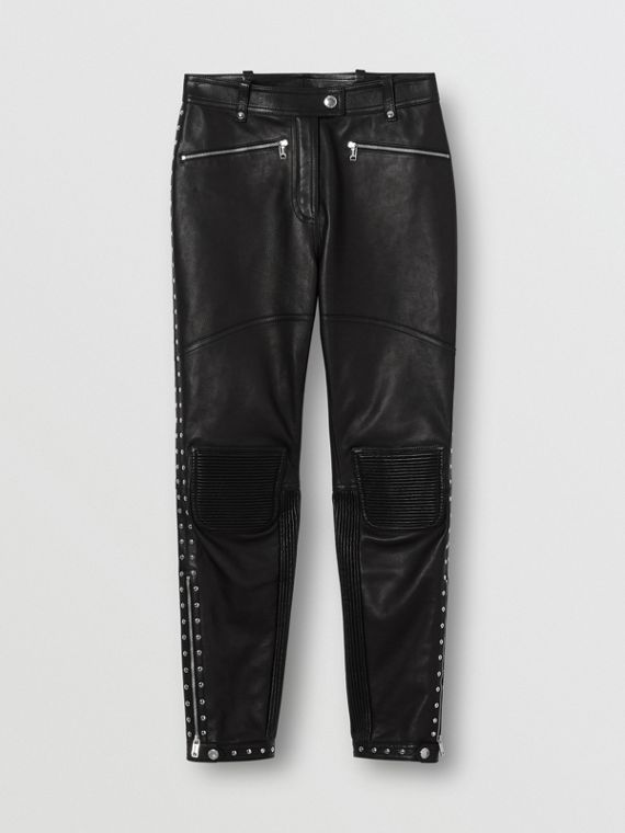 Zip Detail Studded Leather Trousers in Black
