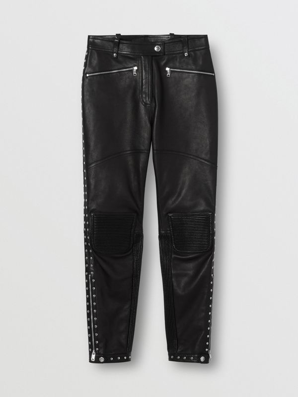 Zip Detail Studded Leather Trousers in Black - Women | Burberry Canada - cell image 3