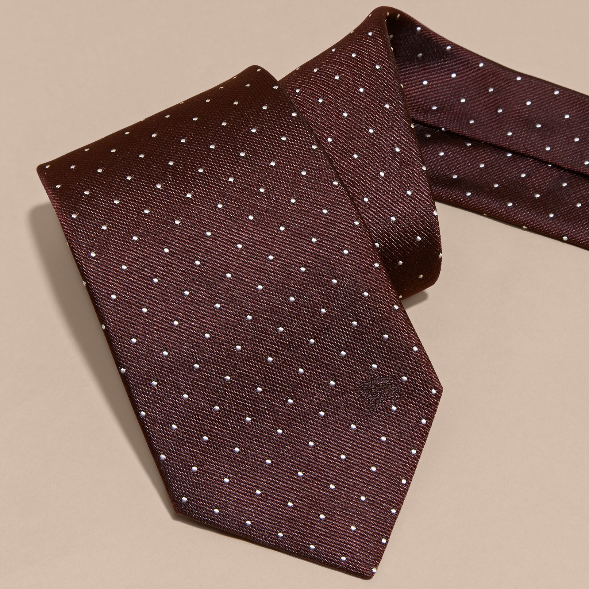 Classic Cut Polka Dot Silk Twill Tie in Deep Claret - Men | Burberry - gallery image 2