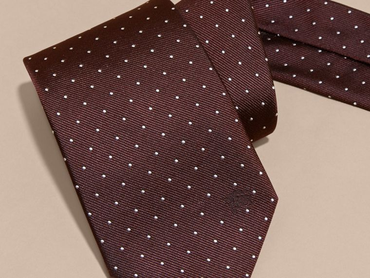 Classic Cut Polka Dot Silk Twill Tie in Deep Claret - Men | Burberry - cell image 1