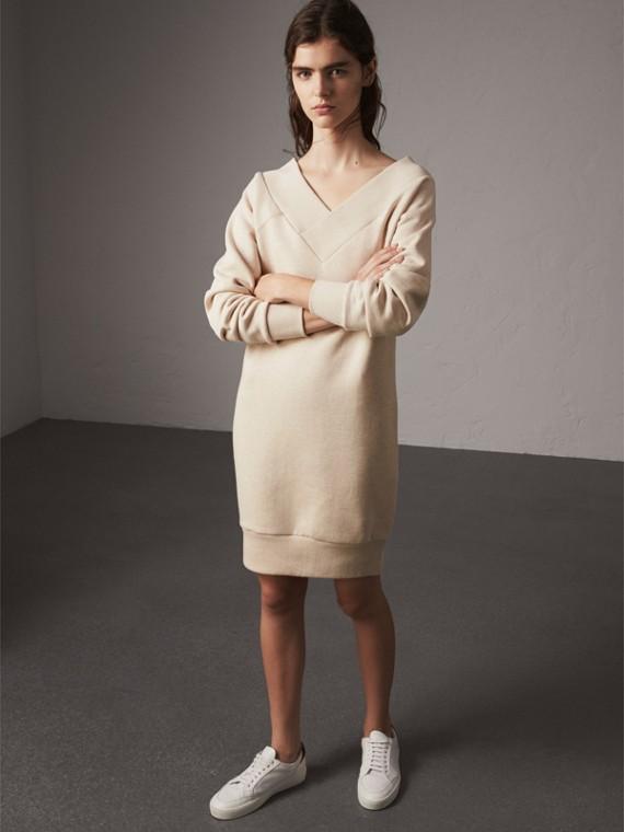 Cotton Blend V-neck Sweater Dress in Oatmeal Melange