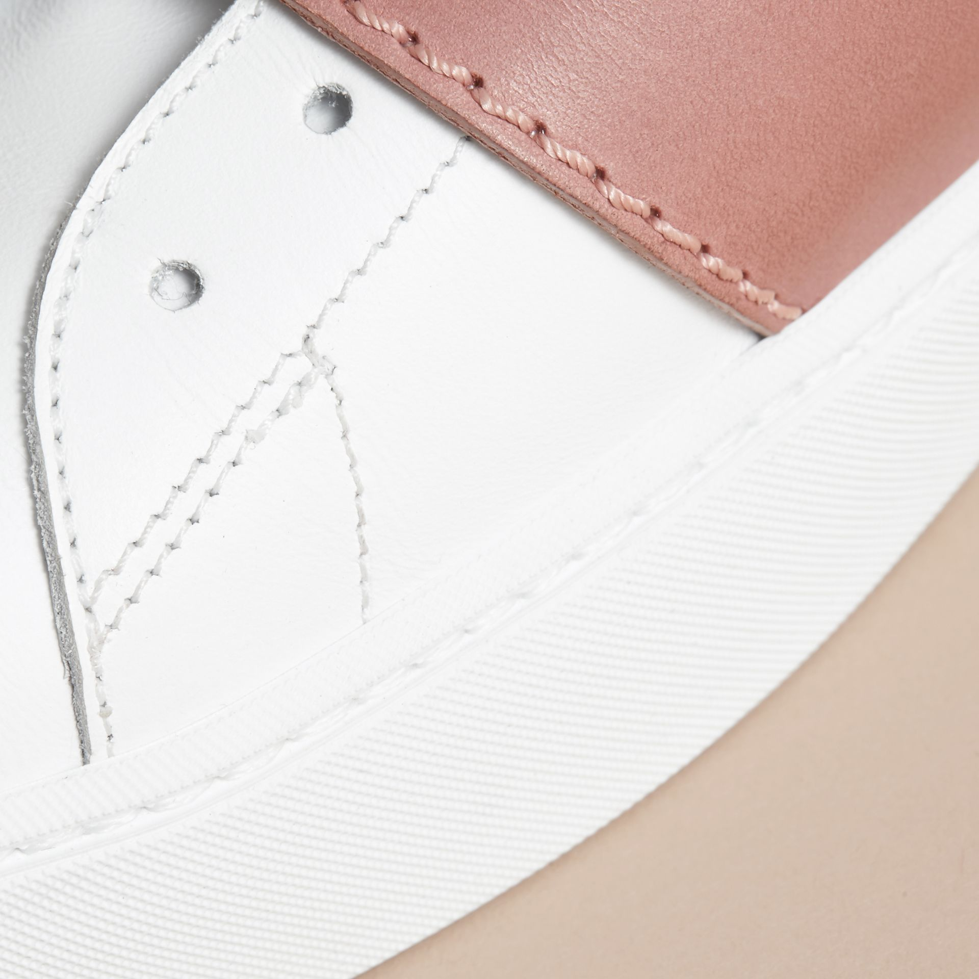 Buckle Detail Leather Trainers in Pink Apricot - Women | Burberry Canada - gallery image 5
