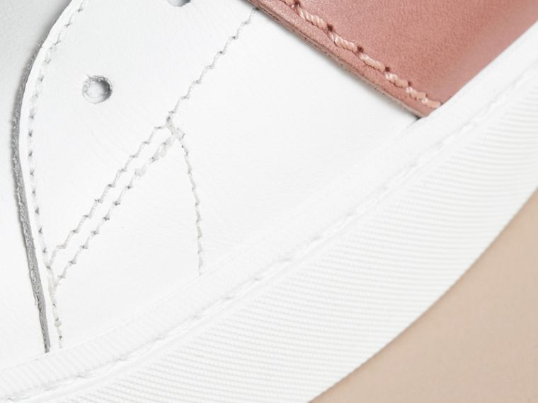 Buckle Detail Leather Trainers in Pink Apricot - Women | Burberry - cell image 4