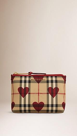 Pochette medium à motif check et à cœurs bordée de cuir