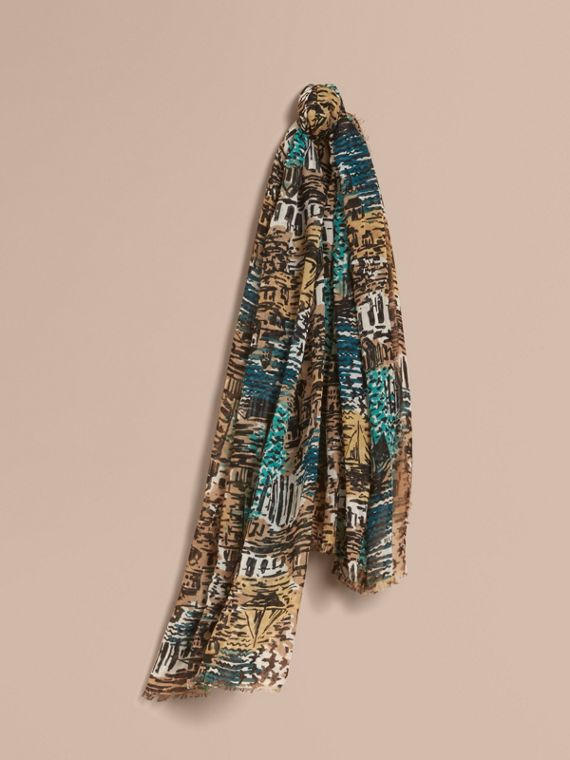 British Seaside Print Cotton Cashmere Scarf Aqua Green