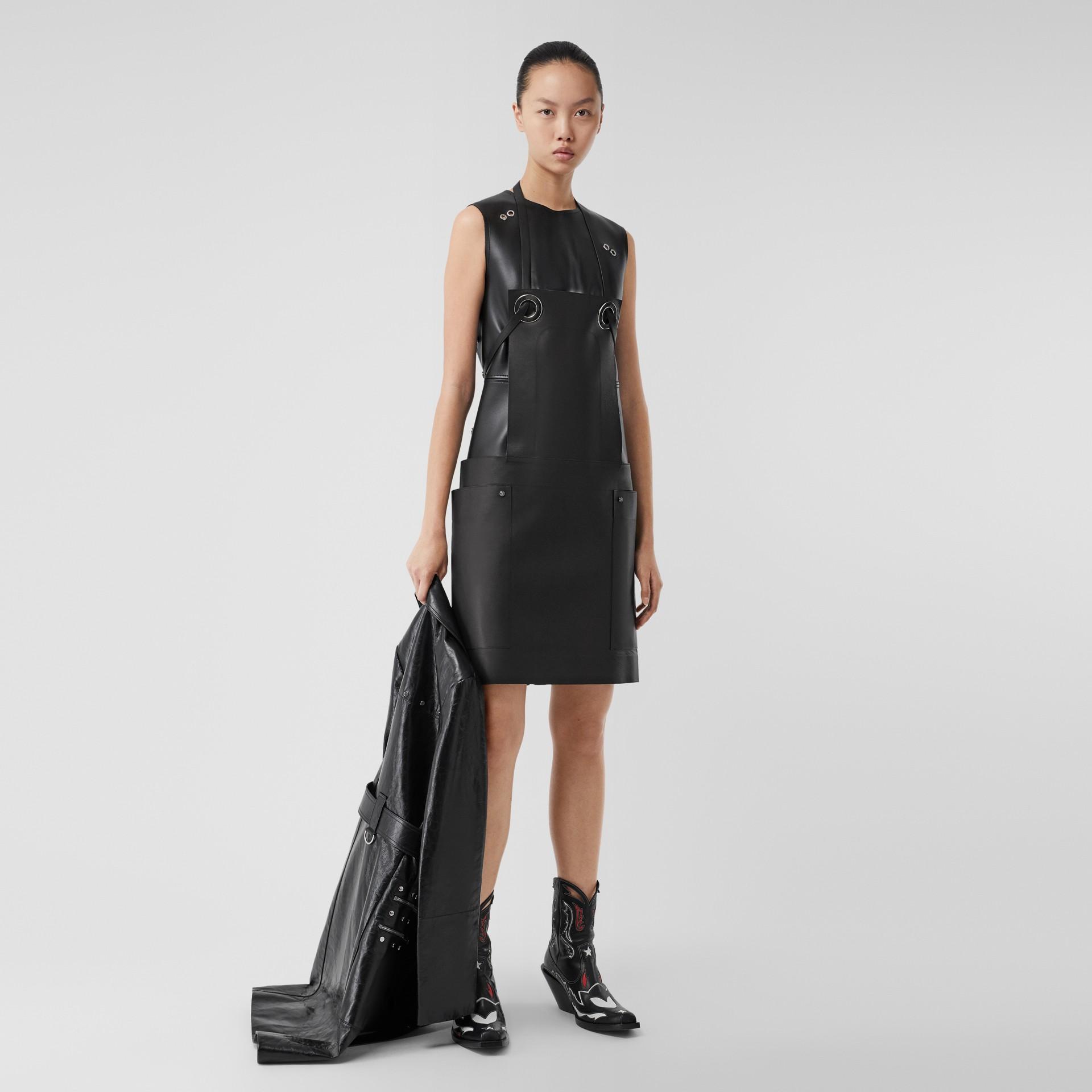 Eyelet Detail Leather Sleeveless Dress in Black - Women | Burberry - gallery image 0