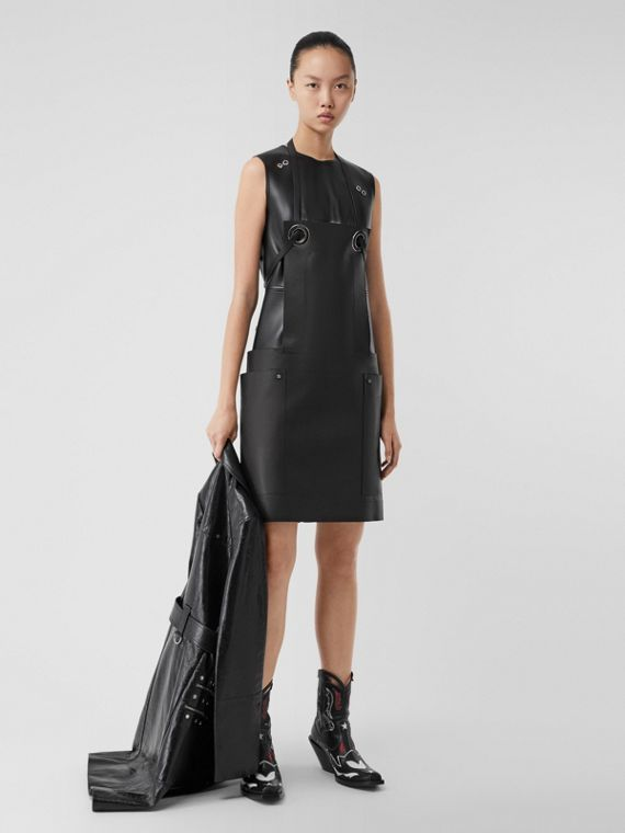 Eyelet Detail Leather Sleeveless Dress in Black