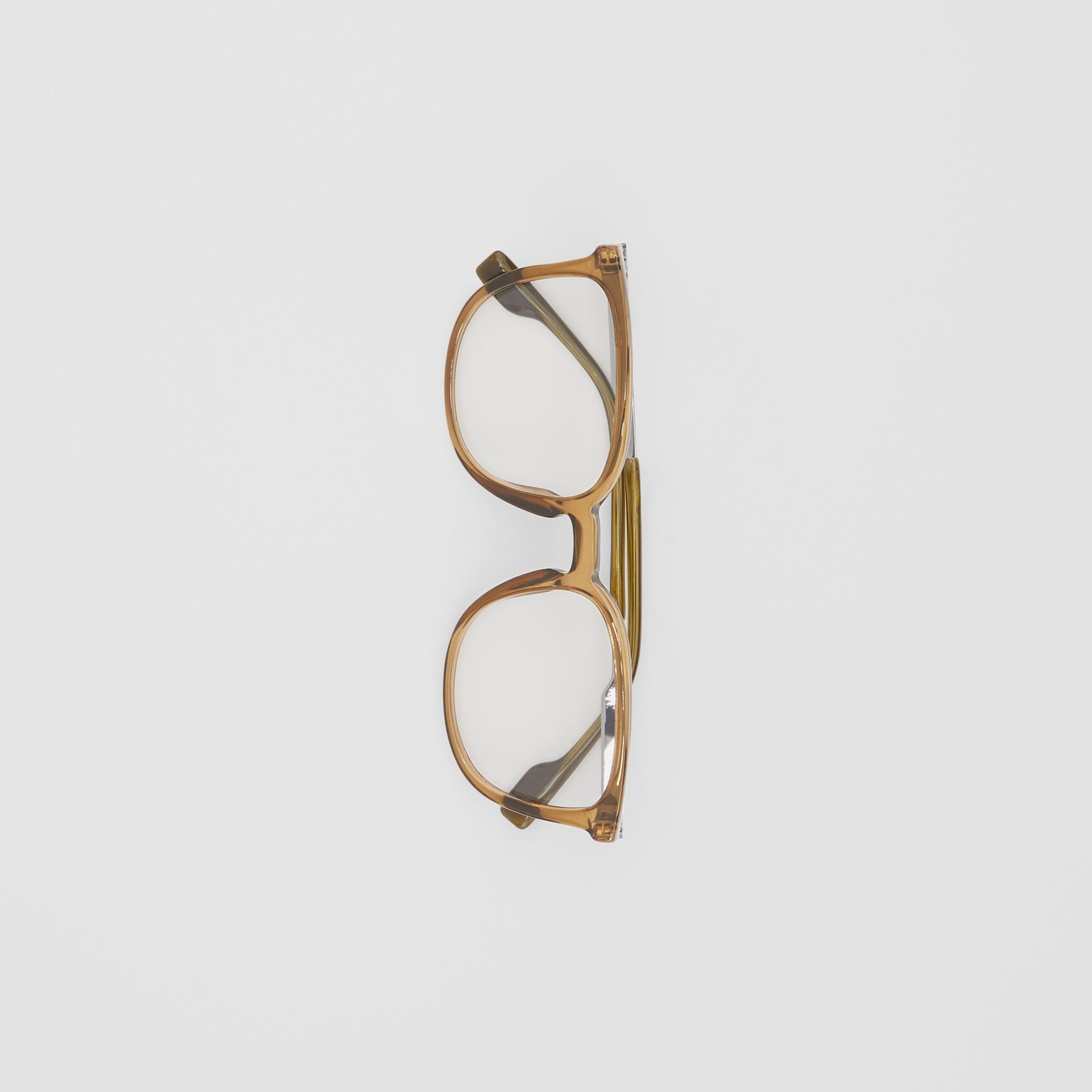 Square Optical Frames in Olive Green | Burberry - gallery image 2
