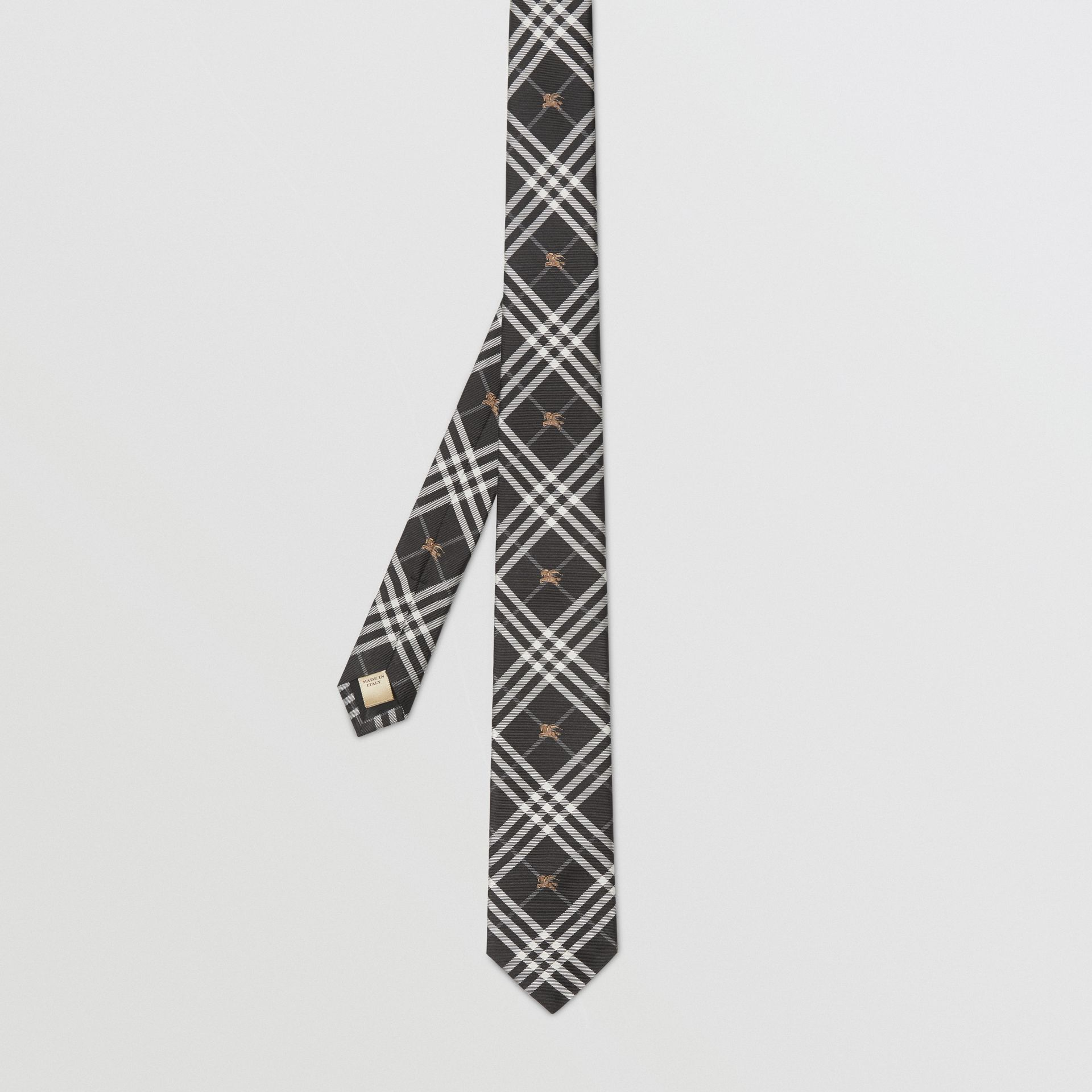Slim Cut Equestrian Knight Check Silk Tie in Black - Men | Burberry - gallery image 4
