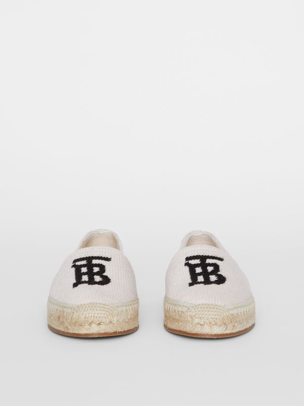Monogram Motif Cotton and Leather Espadrilles in Ecru/black | Burberry - cell image 2