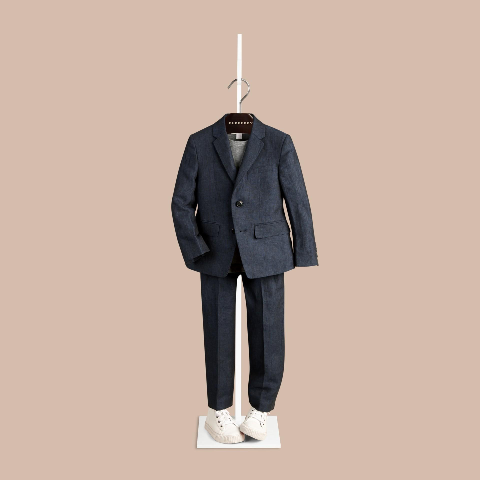 Navy Linen Tuxedo Jacket - gallery image 2