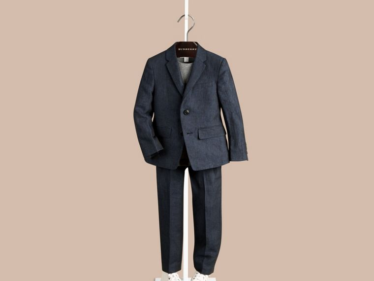 Navy Linen Tuxedo Jacket - cell image 1