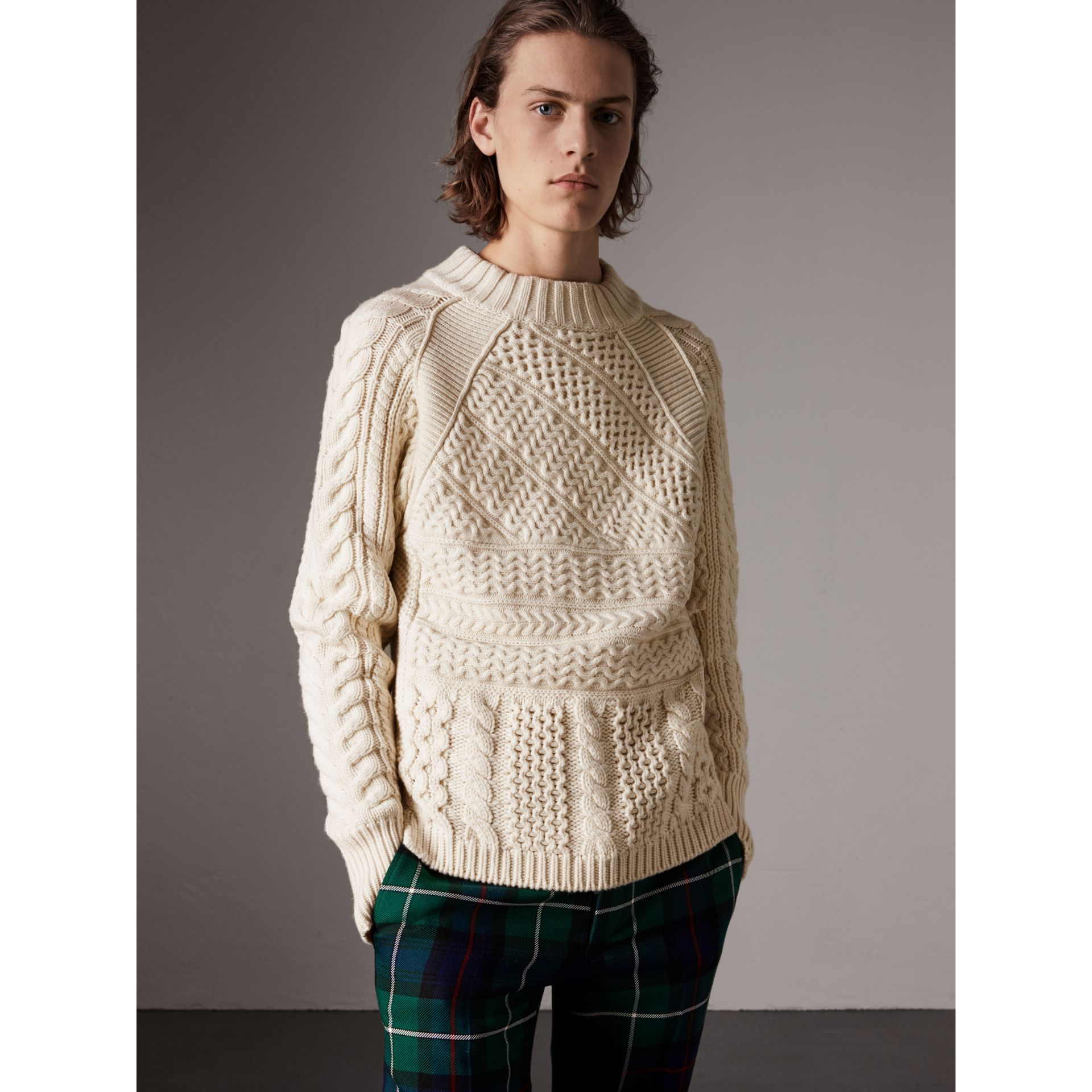 Wool Cashmere Aran Sweater in Natural White - Men | Burberry - gallery image 0