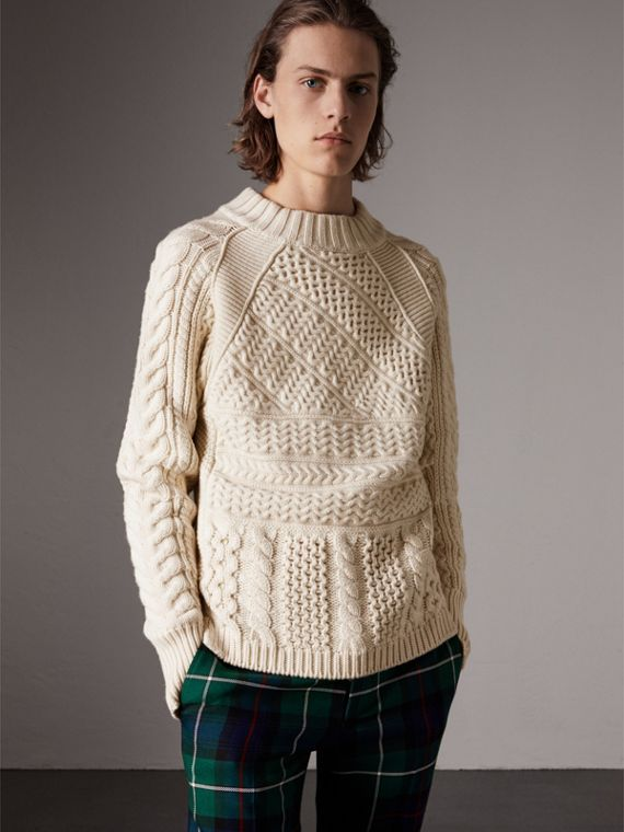 Wool Cashmere Aran Sweater in Natural White