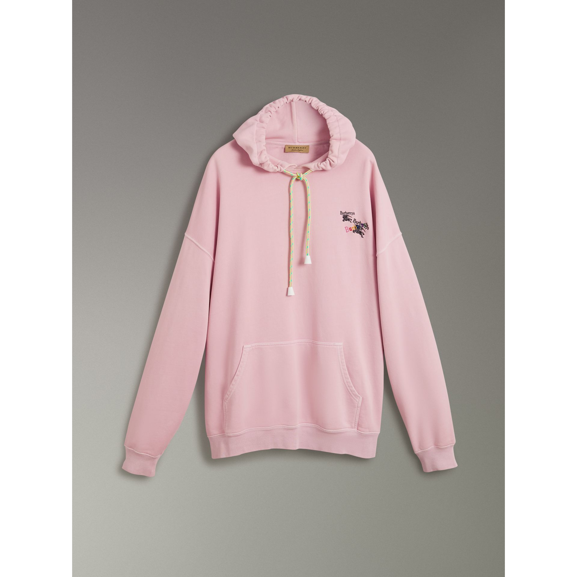 Equestrian Logo Embroidery Cotton Oversized Hoodie in Light Pink - Men | Burberry Australia - gallery image 3