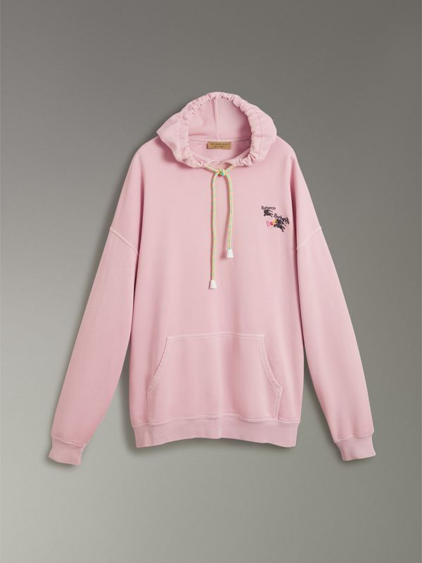 Equestrian Logo Embroidery Cotton Oversized Hoodie in Light Pink - Men | Burberry Australia - cell image 3